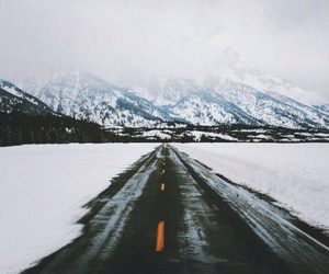 mountains, snow, and road image