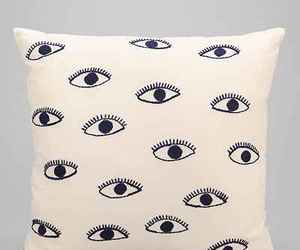 embroidered, pillow, and eye image