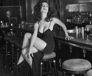 black and white, dress, and femme fatale image