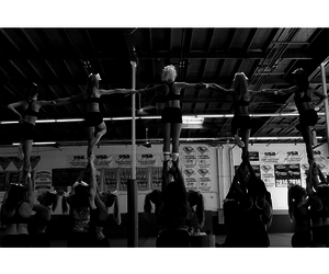 black and white, cheer, and pyramid image