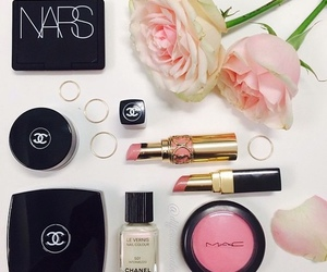 chanel, makeup, and flowers image