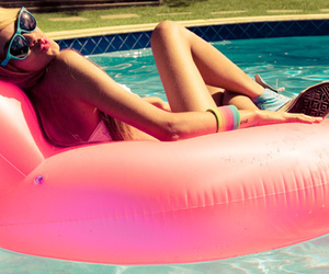 blond, pool, and girl image