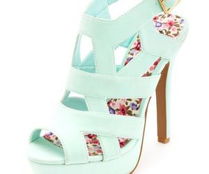 heels, shoes, and floral image