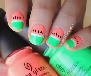 nails, watermelon, and sandia image
