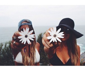 flowers, girl, and friends image