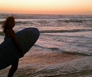 girl, sunset, and surf image
