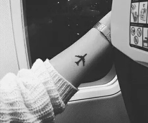 tattoo, travel, and airplane image