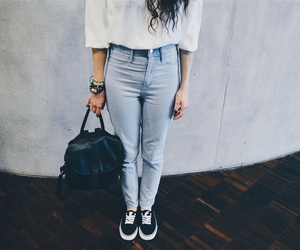 black, casual, and highwaisted image