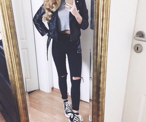 black jeans, converse, and leather jacket image