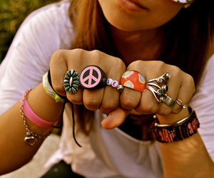 rings, girl, and peace image