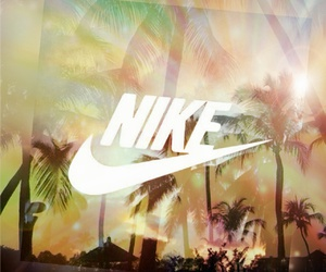 beach, nike, and palm trees image