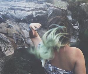 black nails, green hair, and grunge image