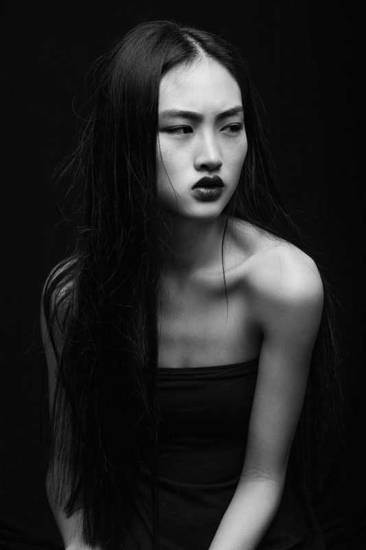 model and black and white image