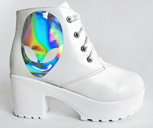 alien, holographic, and shoes image