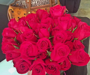 flowers, watch, and red roses image