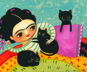 art, cats, and frida kahlo image