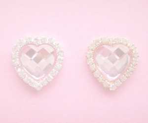 pink, heart, and earrings image