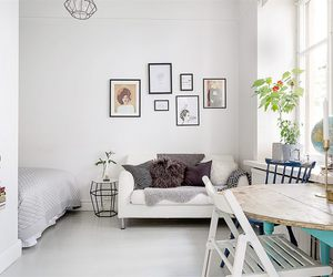 black and white, small apartment, and studio apartment image