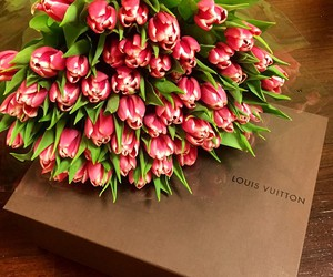 flowers, Louis Vuitton, and pink image