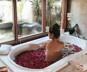girl, bath, and rose image