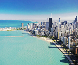 city, beach, and chicago image