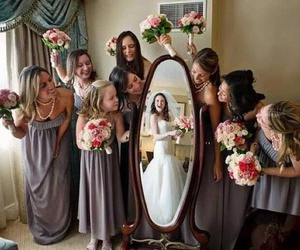 wedding, bride, and bridesmaid image