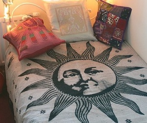 sun, bedroom, and bed image