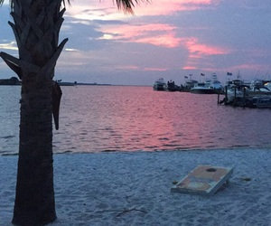 beach, boats, and sunset image