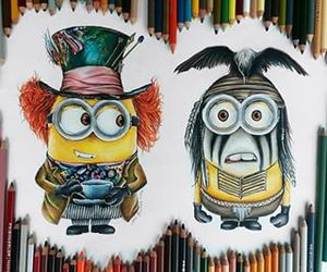 drawing, minions, and johnny depp image