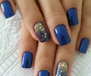 blue, nails, and look image