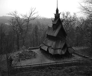 black and white, house, and dark image