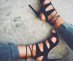 heels, shoes, and black image