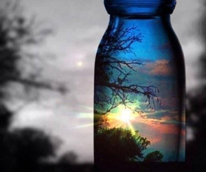 sun, sunset, and bottle image