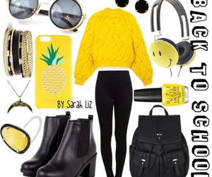 black, outfit, and yellow image