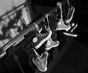 black and white, converse all star, and shoe image