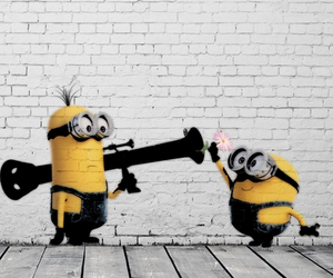 minions, peace, and flower image