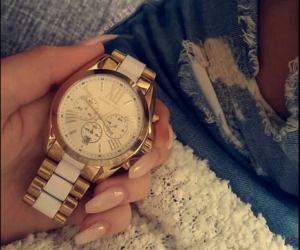 gold, Michael Kors, and nails image