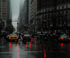 city, cars, and rain image