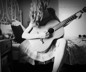 guitar, hair, and music image