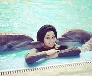 dolphins, hijab, and cute image