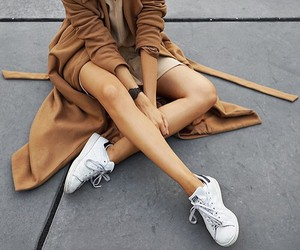 brown, coat, and sneakers image