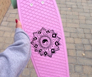 penny, pink, and skate image