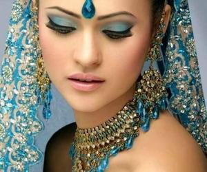 indian, blue, and beauty image