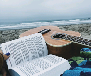 book, guitar, and beach image