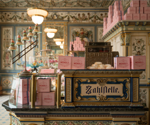 the grand budapest hotel, pink, and wes anderson image