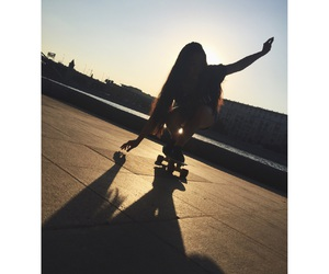 summer, penny board, and skate boarding image