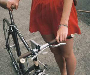 girl, bike, and red image