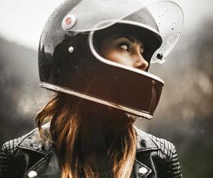 girl, motorcycle, and helmet image
