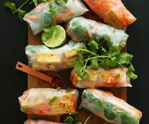 food, food photography, and spring rolls image