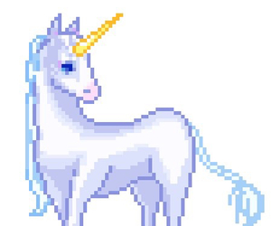 unicorn, kawaii, and pixel image